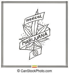 logo, medisch, acht, marihuana, black