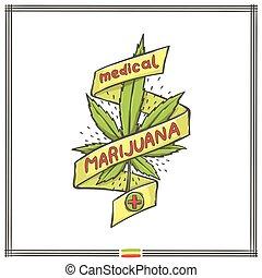 logo, medisch, acht, marihuana