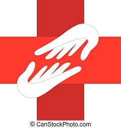logo, medisch, handen