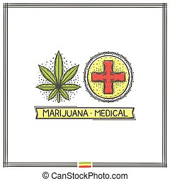 logo, medisch, marihuana, drie