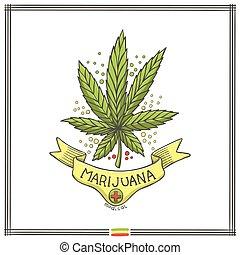 logo, medisch, marihuana, tien