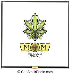 logo, medisch, marihuana, twee
