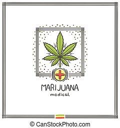 logo, medisch, marihuana, zeven