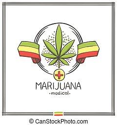 logo, medisch, negen, marihuana