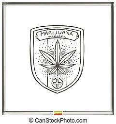 logo, medisch, vijf, marihuana, black