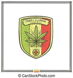 logo, medisch, vijf, marihuana