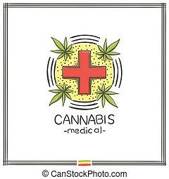 logo, medisch, zes, marihuana