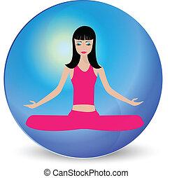 logo, meditatie, meisje, yoga