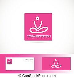logo, meditatie, pose, yoga