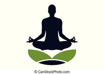 logo, meditatie, pose, yoga, pictogram