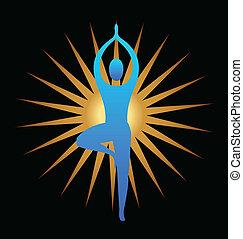 logo, meditatie, yoga