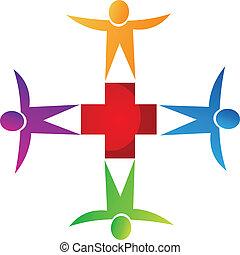 logo, medizin, gemeinschaftsarbeit, leute