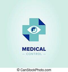 logo, mediziner, kreuz, template.