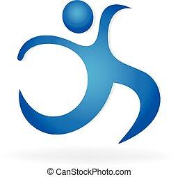 logo, menneske figur, ikon