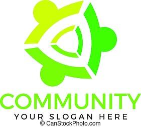 logo, mensen, gemeenschap, design.