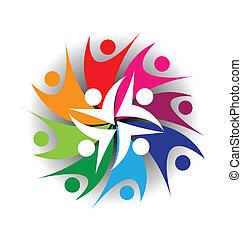logo, mensen, teamwork, swooshes