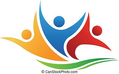logo, mensen, vector, drie