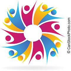 logo, mensen, vergadering, teamwork