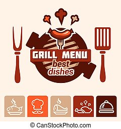 logo, menu, grill