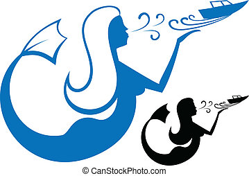 Mermaid embarks on a journey boat. Can be used as logo. Isolating the illustration.