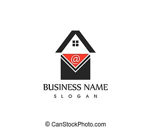 logo, message, icône, gabarit, courrier