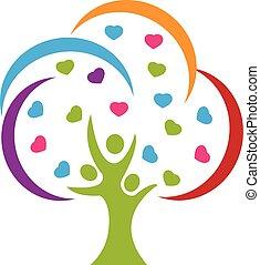 logo, miłość, drzewo, ludzie