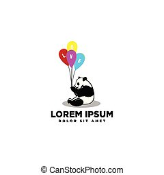 logo, miłość, panda
