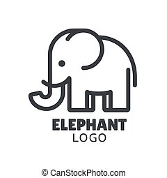 logo, minimaal, elefant