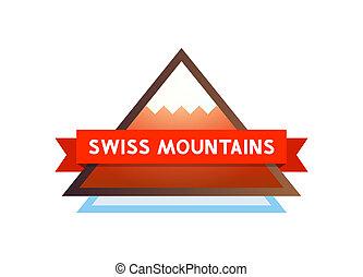 logo, mit, berge, in, schweiz