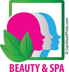 logo, mode, ansigter, kurbad skønhed