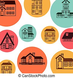 logo, modelujcie zamiar, barwny, domy