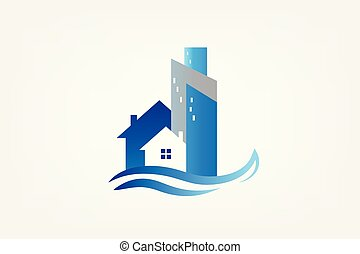 Logo modern house buildings real estate card