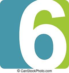 logo, modern, zählen 6