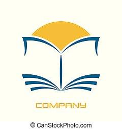 logo, moderne, boek