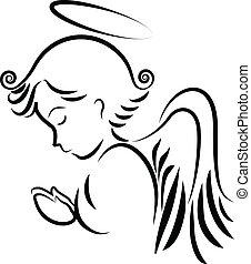 logo, modlący się, anioł