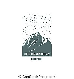 logo, montagne, étoilé, sky.