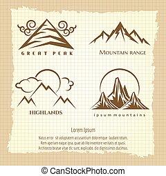 logo, montagne, conception, affiche, vendange