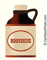 logo, moonshine, pierre, bouteille, bouchon