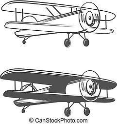 logo, motorflugzeug, eben