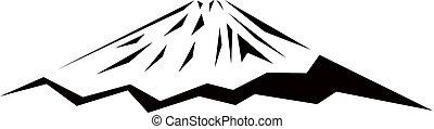 Logo mountain (Fuji). Black triangles.