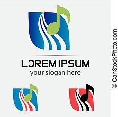 logo, musique, vague