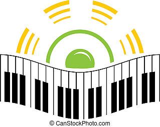 logo, muziek