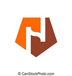 Logo N, Alphabet N and Orange Pentagon Shape Logo, Icon Design Vector Illustration