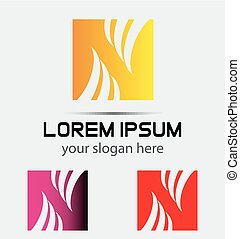 logo, n, carrée, lettre, icône