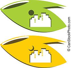logo, natur, byen