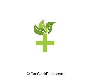 logo, natur, sundhed, skabelon