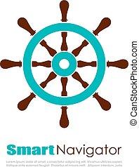 logo, navigateur, nautique