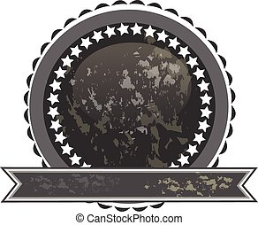 logo, noir, grunge, ruban, cachet