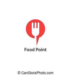 logo, nourriture, point