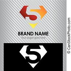 Logo number 5 company icon design